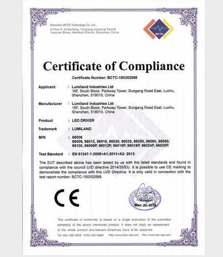 LVD certificate for Economic series LED driver